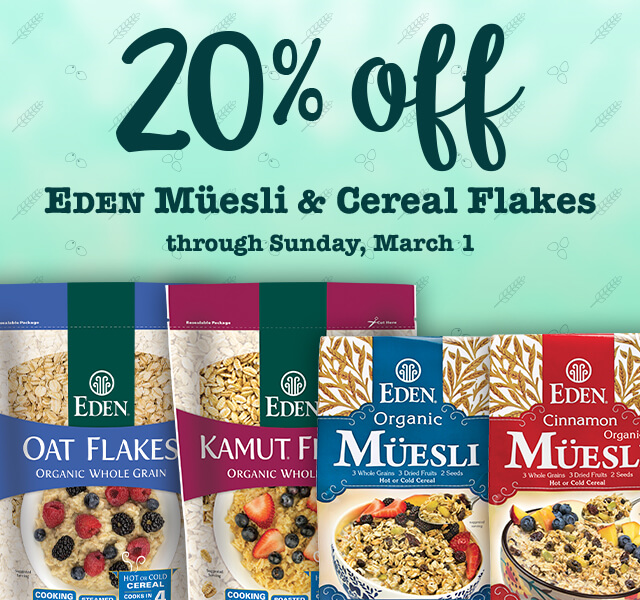 20% off Eden Muesli and Cereal Flakes
